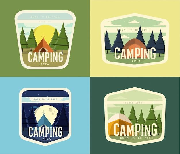 Camping vintage illustraties ontwerp