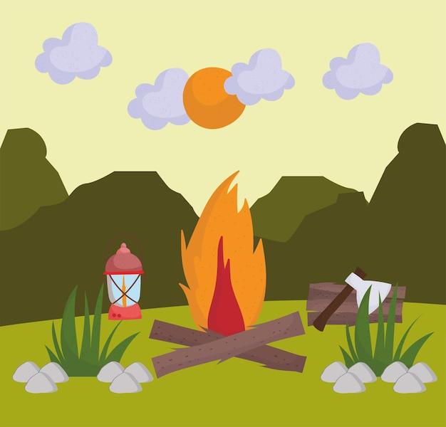 Camping vreugdevuur lamp
