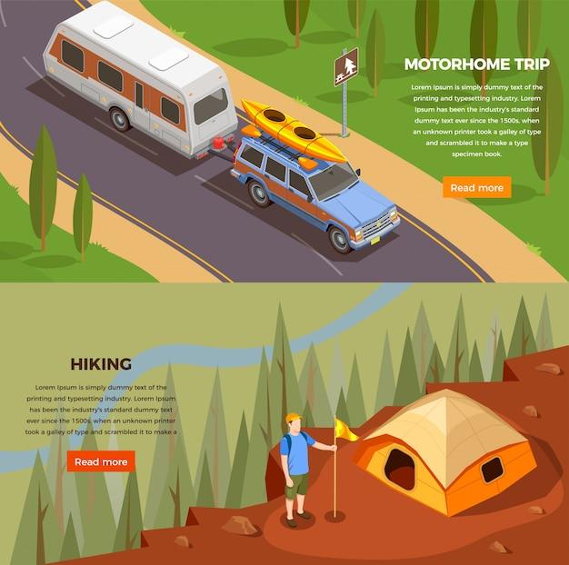 Camping wandelen isometrische horizontale banners set met lees meer knop bewerkbare tekst en reisafbeeldingen