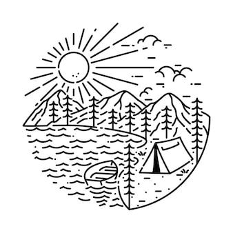Camping wandelen klimmen berg aard illustratie