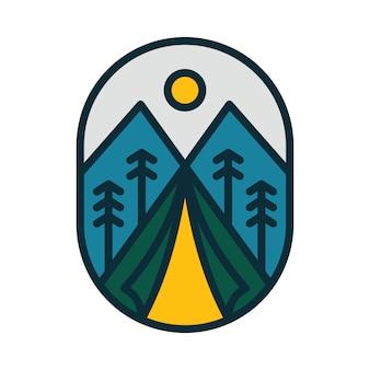 Camping wandelen klimmen berg illustratie