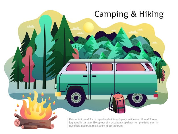 Camping wandelen poster