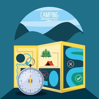 Camping zone met kaart en kompas