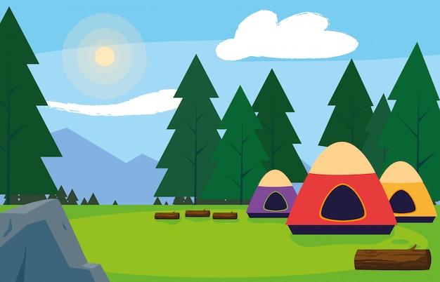 Camping zone met tenten dag landschap
