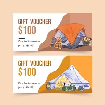 Campingbon met illustraties voor rugzak, lantaarn en wandelschoenen.