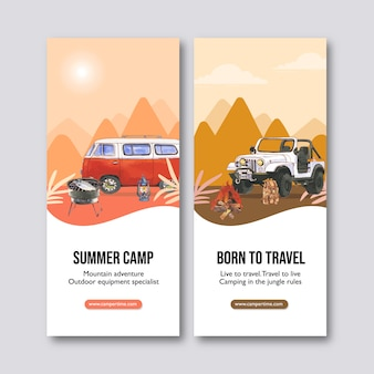 Campingflyer met tent, grillfornuis en opblaasbare bootillustraties.
