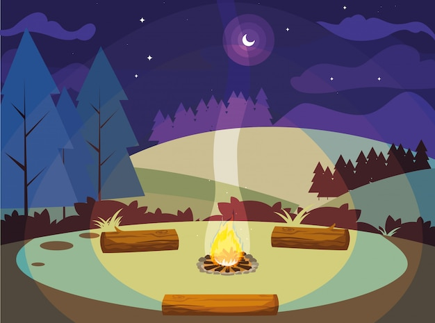 Campingzone met kampvuur in het landschap