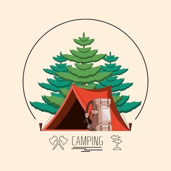 Campingzone met tent en bomenplant