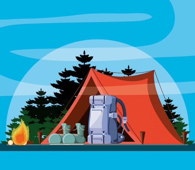 Campingzone met tent en landschap