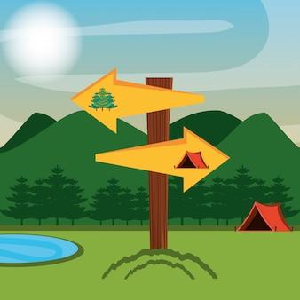 Campingzone met tent en pijlen