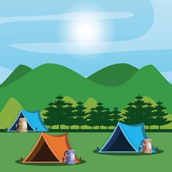 Campingzone met tenten en landschap