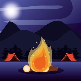 Campingzone met tenten en nachtlandschap