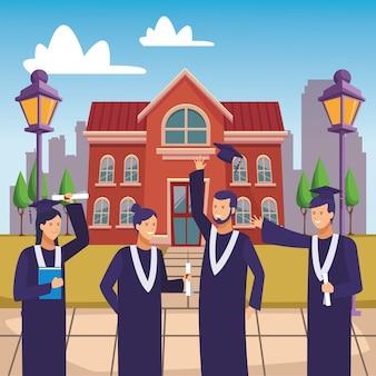 Campus afstuderen ceremonie diploma mensen