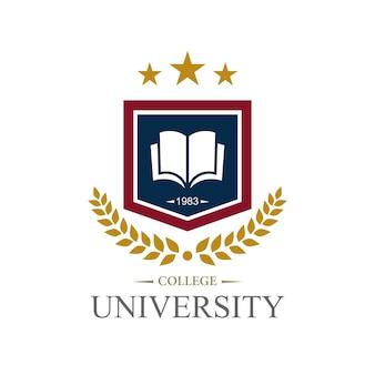 Campus, collage en universitair onderwijs logo ontwerpsjabloon