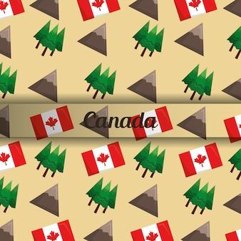 Canada bergen piek dennenboom en vlag achtergrond