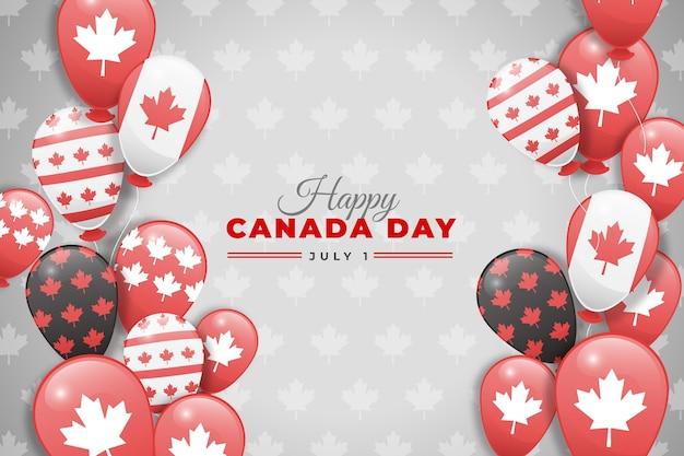 Canada dag ballonnen achtergrond in platte ontwerp