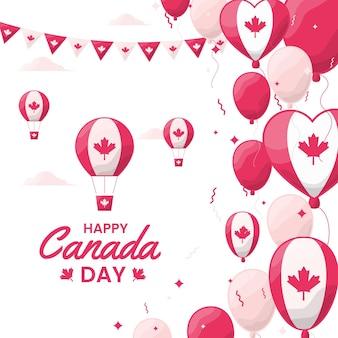 Canada dag ballonnen achtergrond plat ontwerp