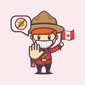 Canada dag illustratie met schattig karakter stop virus