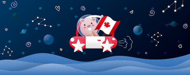 Canada dag illustratie met schattige bever in de ruimte.