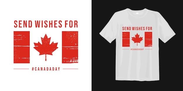 Canada day citeert t-shirtontwerp met vlag