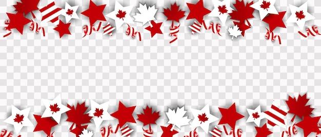 Canada day-illustratie, canadese vlag en esdoornbladeren, rood en wit