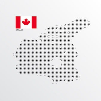 Canada kaartontwerp met vlag en lichte achtergrond vector