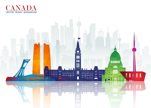 Canada landmark global travel and journey paper achtergrond