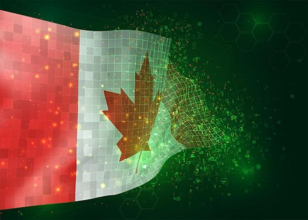 Canada, op vector 3d-vlag op groene achtergrond met veelhoeken en gegevensnummers