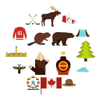 Canada reizen pictogrammen instellen in vlakke stijl