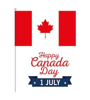 Canadees ontwerp van de de dag het vectorillustratie van de vlagviering