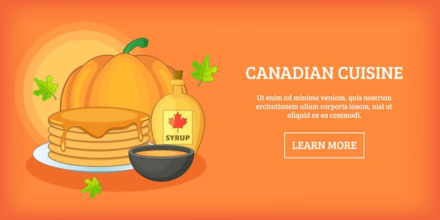 Canadese keuken horizontale banner, cartoon stijl