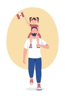 Canadese ouder met kind semi-egale kleur vector karakter. vader met dochterfiguren. volledige lichaamsmensen op wit. familie geïsoleerde moderne cartoon-stijl illustratie voor grafisch ontwerp en animatie