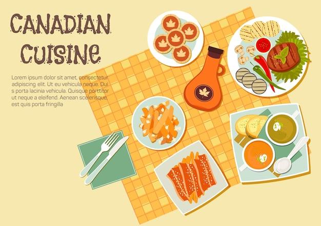 Canadese picknickgerechten met bovenaanzicht van tafel met gegrilde biefstuk en groenten aan de zijkant, frietjes gegarneerd met cheese curd en spek, romige erwten en pompoensoep