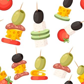 Canapes met verschillende toppings restaurantgerechten