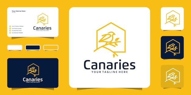 Canarische vogelhuis logo ontwerp inspiratie, natuur vogelhuisje