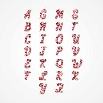 Candy cane alfabet bewerkbaar