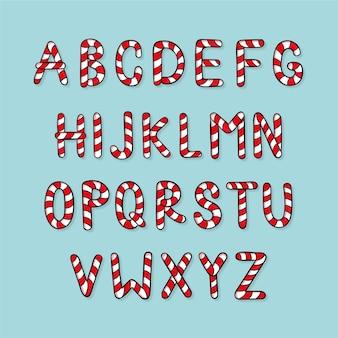 Candy cane kerst alfabet set