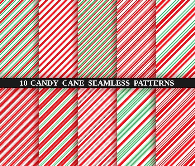 Candy cane naadloze strookpatroon. kerst achtergrond. tien vakantiestructuren. inpakpapier