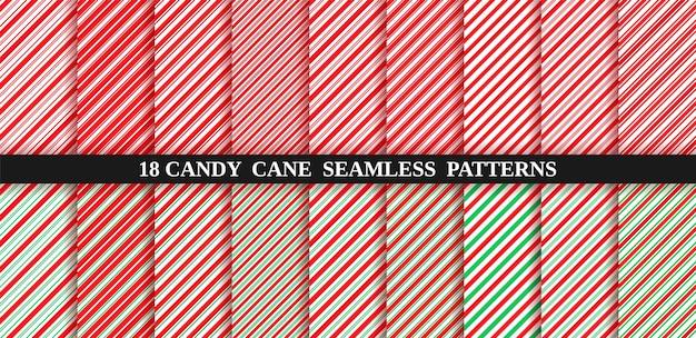 Candy cane naadloze strookpatroon. rood en groen inpakpapier.