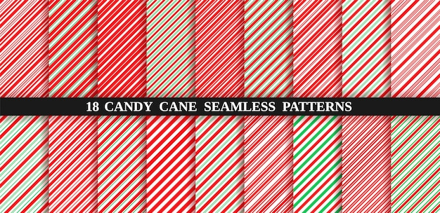 Candy cane strepen naadloze patroon. kerst snoep achtergrond