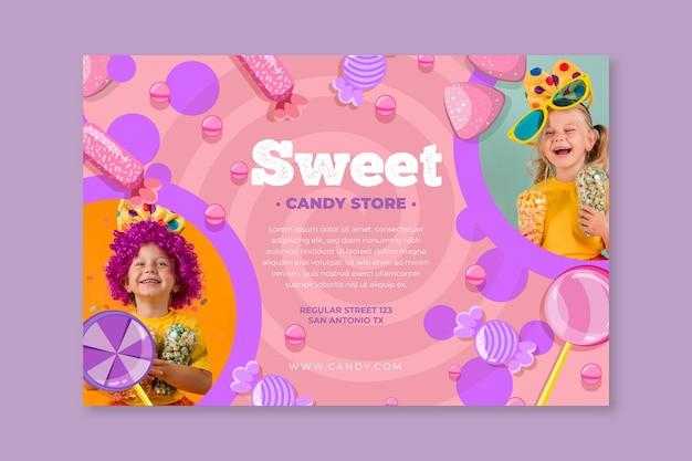 Candy horizontale banner met kind Gratis Vector