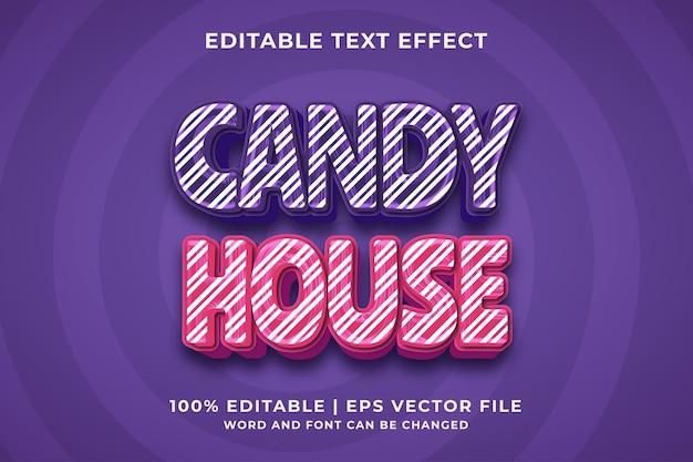 Candy house 3d bewerkbaar teksteffect premium vector