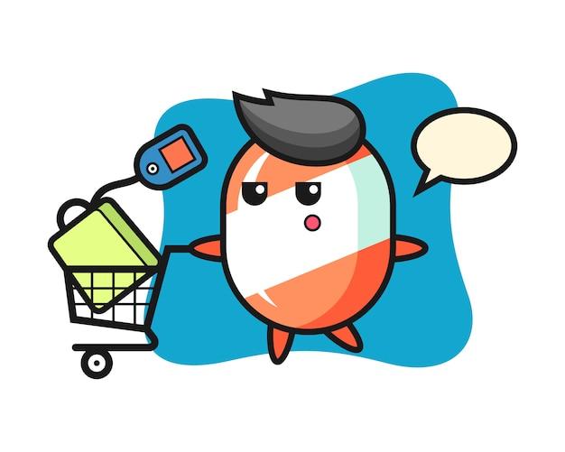 Candy illustratie cartoon met een winkelwagentje