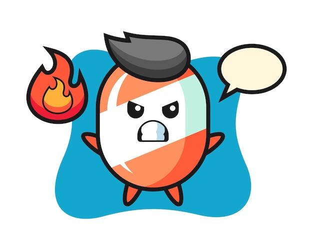 Candy karakter cartoon met boos gebaar