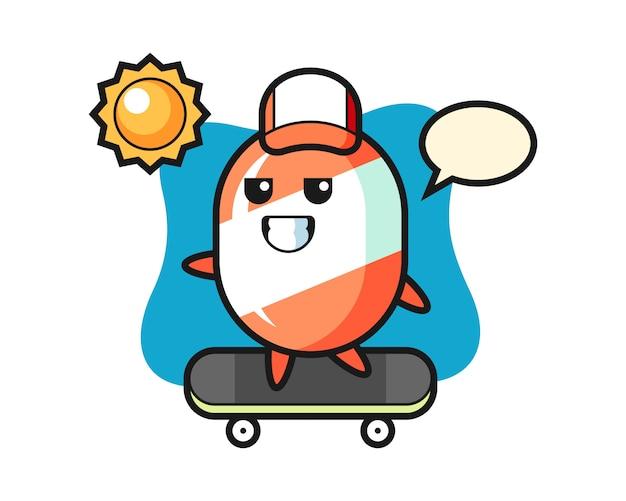 Candy karakter cartoon rijden op een skateboard