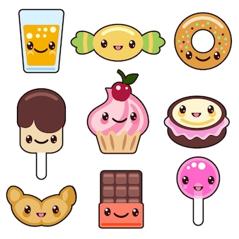 Candy kawaii voedsel tekens instellen