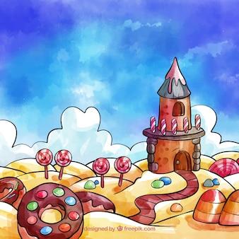 Candy land achtergrond in aquarel stijl