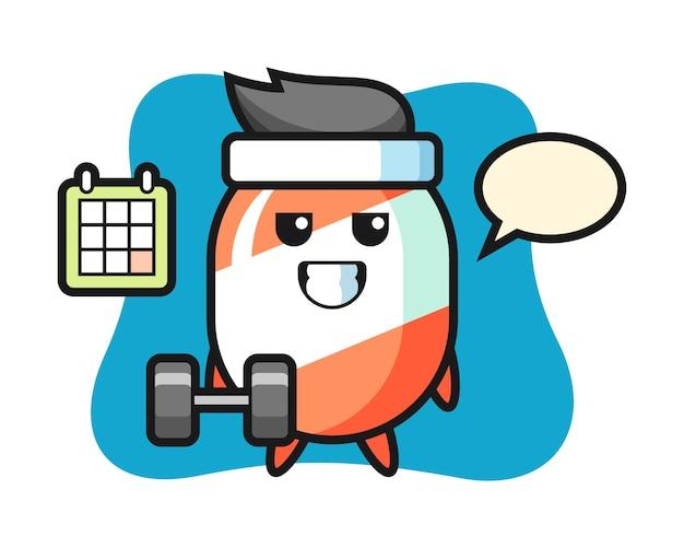 Candy mascotte cartoon fitness met halter doen