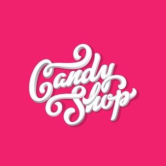 Candy shop belettering kalligrafische vintage ontwerpsamenstelling