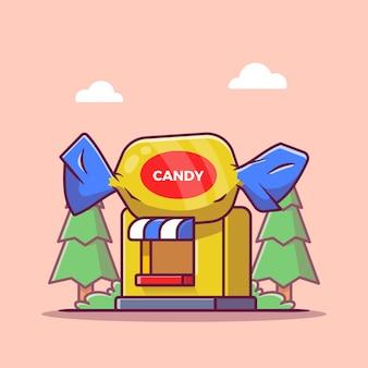 Candy shop cartoon pictogram illustratie. zoet voedsel winkel pictogram concept geïsoleerd. platte cartoon stijl